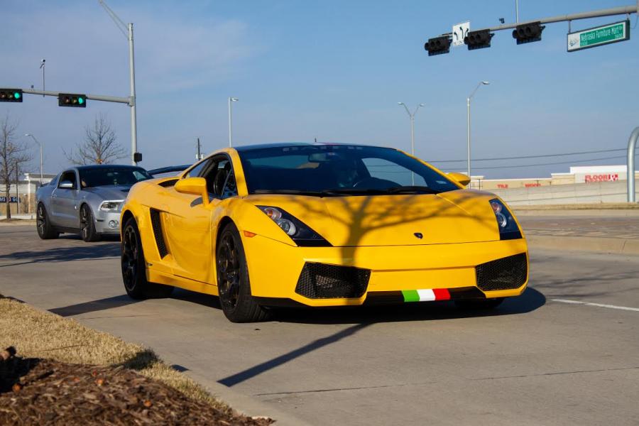This super sporty Lamborghini Gallardo leaving the Dallas Fueled Up Car Meet. (Jacob Lormand I The Talon News)