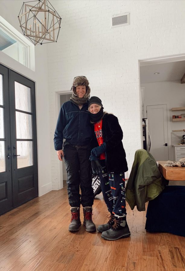 We bundled all up to go out in the freezing cold and the snow we get every 5 or so years in Texas. (Laney Richardson I The Talon News)