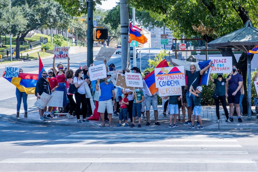 Protesters gather in front of the state capitol building fighting for the rights of the Republic of Artsakh on Oct. 11, 2020, in Austin, Texas. (Nicholas West / The Talon News)