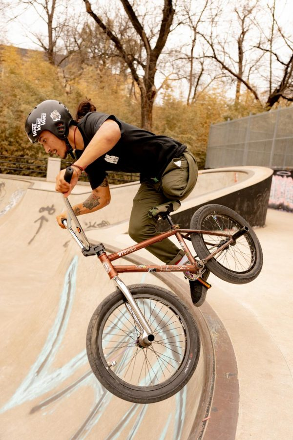 Julian Molina, the first adaptive BMX rider to compete against able-bodied riders in the X Games Real BMX, practices his skills at House Park in Austin, Texas on March 8, 2021. (Nicholas West / The Talon News)