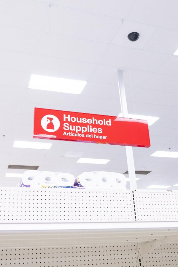 Common household supplies like toilet paper and towels are some of the first items to run out of stock during the severe snow storm at a Target in Flower Mound, Texas on Feb. 20, 2021. (Nicholas West / The Talon News)