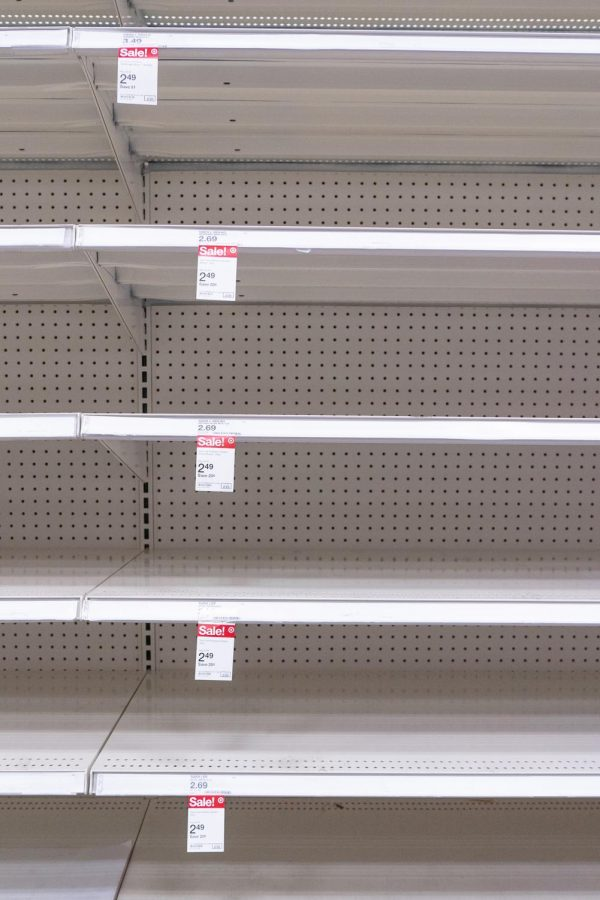 Amidst winter weather that has shut down Texas, shelves quickly empty at a Target in Flower Mound, Texas on Feb. 20, 2021. (Nicholas West / The Talon News)