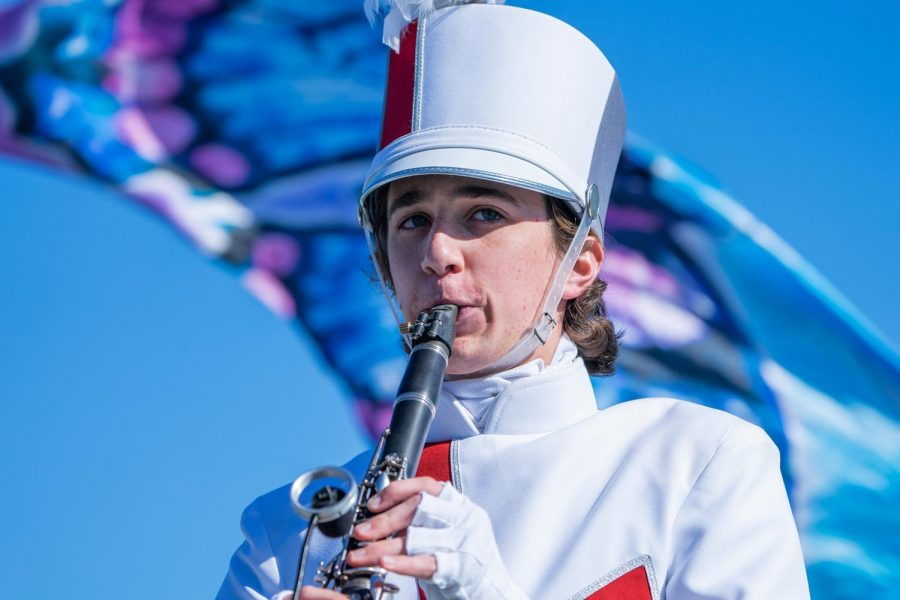 Zachery Tait performs his clarinet solo in the Argyle Marching Band's show titled