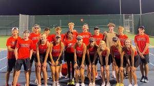 The Argyle eagles varsity tennis team celebrates win over the Peaster Greyhounds on September 13, 2021. (Adam Mihok)