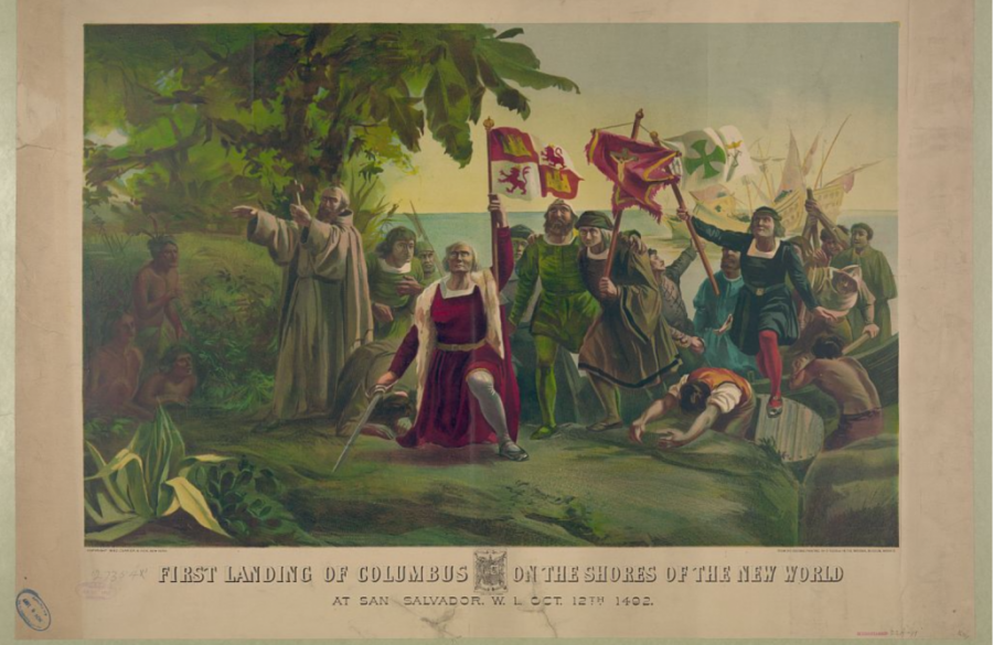 First landing of Columbus on the shores of the New World: At San Salvador, W.I., Oct. 12th 1492. New York: Published by Currier & Ives. Repository. Library of Congress Prints and Photographs Division Washington, D.C. 20540 USA Copyright LOC.gov public domain